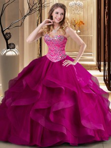 Elegant Sweetheart Sleeveless 15th Birthday Dress Floor Length Beading and Ruffles Fuchsia Tulle