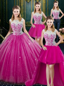 Exceptional Four Piece Floor Length Zipper Sweet 16 Dress Fuchsia for Military Ball and Sweet 16 and Quinceanera with Lace