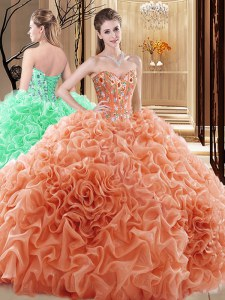 Customized Sleeveless Lace Up Floor Length Embroidery and Ruffles and Pick Ups Quinceanera Gown