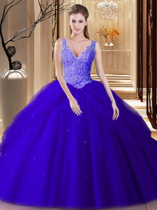 Wonderful Backless Tulle Sleeveless Floor Length Vestidos de Quinceanera and Lace and Appliques and Pick Ups