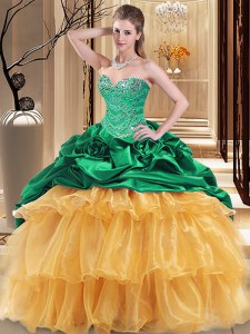 Multi-color Ball Gowns Beading and Ruffles Quinceanera Gowns Lace Up Organza and Taffeta Sleeveless Floor Length