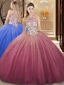 Burgundy Lace Up Sweet 16 Dresses Lace and Appliques Sleeveless Floor Length