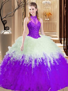 White And Purple High-neck Lace Up Lace and Appliques and Ruffles Quinceanera Dress Sleeveless