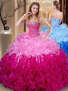 Trendy Sleeveless Floor Length Beading and Ruffles Lace Up Quinceanera Dress with Multi-color