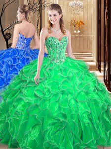 Green Quinceanera Gown Military Ball and Sweet 16 and Quinceanera and For with Embroidery and Ruffles Sweetheart Sleeveless Lace Up