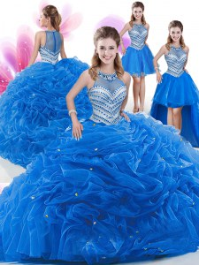 Dynamic Four Piece Sleeveless Floor Length Beading and Pick Ups Zipper 15th Birthday Dress with Royal Blue