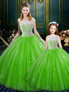 New Style Sleeveless Tulle Floor Length Lace Up 15 Quinceanera Dress in with Lace