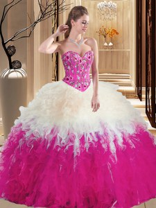 Floor Length Lace Up 15th Birthday Dress Multi-color for Military Ball and Sweet 16 and Quinceanera with Embroidery and Ruffles