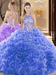 Pretty Ball Gowns Sleeveless Blue Sweet 16 Dresses Court Train Backless