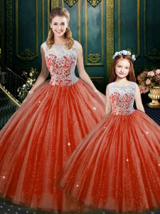 Most Popular Orange Red Sleeveless Tulle Zipper Vestidos de Quinceanera for Military Ball and Sweet 16 and Quinceanera