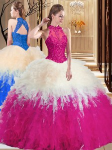 High Quality Multi-color Backless Sweet 16 Quinceanera Dress Lace and Appliques and Ruffles Sleeveless Floor Length