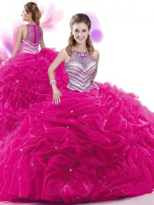 Extravagant Pick Ups Fuchsia Sleeveless Taffeta Court Train Zipper Sweet 16 Quinceanera Dress for Military Ball and Sweet 16 and Quinceanera