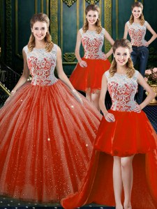 Super Four Piece Orange Red High-neck Zipper Beading and Lace Vestidos de Quinceanera Sleeveless