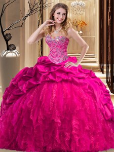 Ball Gowns Sleeveless Hot Pink Ball Gown Prom Dress Brush Train Lace Up