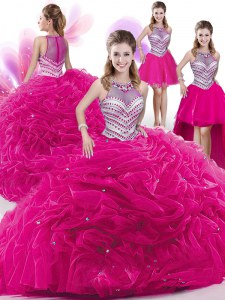Amazing Four Piece Hot Pink Sleeveless Floor Length Beading and Pick Ups Zipper Vestidos de Quinceanera