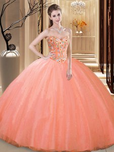 Inexpensive Peach Sweetheart Lace Up Embroidery Ball Gown Prom Dress Sleeveless
