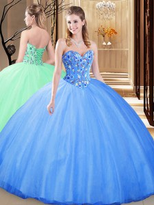 Blue Sleeveless Embroidery Floor Length Sweet 16 Quinceanera Dress