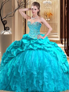 Sleeveless Brush Train Lace Up Beading and Ruffles Sweet 16 Dress