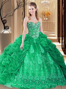 Green Ball Gowns Organza Sweetheart Sleeveless Embroidery and Pick Ups Lace Up Quinceanera Dress Court Train
