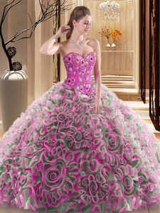 High Class Multi-color Lace Up Quinceanera Dresses Embroidery and Ruffles Sleeveless With Brush Train