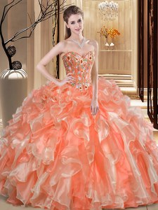 Best Floor Length Ball Gowns Sleeveless Orange Sweet 16 Quinceanera Dress Lace Up