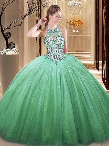 Green Sleeveless Floor Length Lace and Appliques Lace Up Sweet 16 Dresses