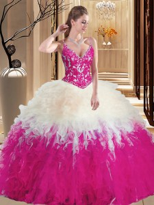 Straps Sleeveless Tulle Quinceanera Dress Lace and Appliques Lace Up