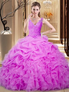 Discount Lilac Ball Gowns Organza Sweetheart Sleeveless Lace and Ruffles and Pick Ups Floor Length Backless Quinceanera Dress