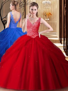 Fancy Backless Red Sleeveless Lace and Appliques and Pick Ups Floor Length Vestidos de Quinceanera