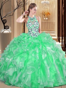 Simple Scoop Organza Sleeveless Floor Length Quince Ball Gowns and Embroidery and Ruffles
