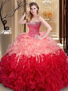 Luxury Multi-color Sweetheart Neckline Ruffles 15 Quinceanera Dress Sleeveless Lace Up