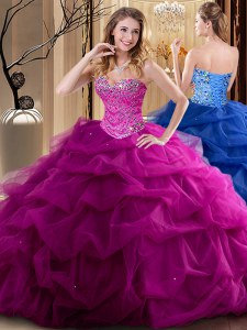 Fantastic Fuchsia Tulle Lace Up Sweetheart Sleeveless Floor Length Ball Gown Prom Dress Beading and Ruffles