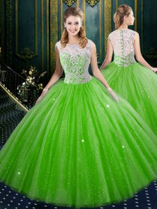 Custom Design Quince Ball Gowns Military Ball and Sweet 16 and Quinceanera and For with Lace High-neck Sleeveless Zipper