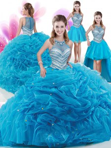 Four Piece High-neck Sleeveless Organza Vestidos de Quinceanera Ruffles and Pick Ups Court Train Zipper
