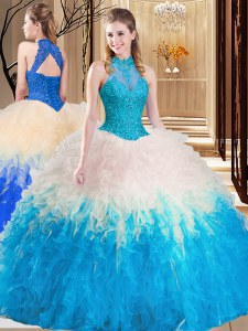 Multi-color Backless Quinceanera Dress Lace and Appliques and Ruffles Sleeveless Floor Length