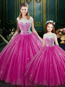 Hot Pink Ball Gowns High-neck Sleeveless Tulle Floor Length Lace Up Lace 15 Quinceanera Dress