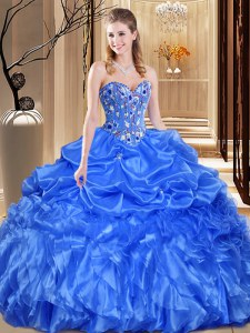 High Quality Organza Sweetheart Sleeveless Lace Up Lace and Appliques Quinceanera Gown in Royal Blue