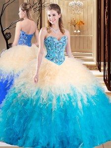Romantic Multi-color Sleeveless Embroidery and Ruffles Floor Length 15 Quinceanera Dress