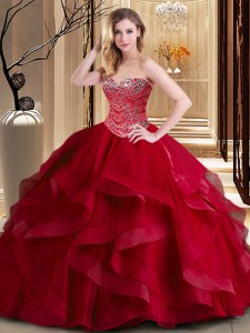 Fine Wine Red Sweetheart Neckline Beading and Ruffles 15th Birthday Dress Sleeveless Lace Up
