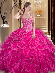 Exceptional Fuchsia Ball Gown Prom Dress Military Ball and Sweet 16 and Quinceanera and For with Embroidery and Ruffles Sweetheart Sleeveless Lace Up
