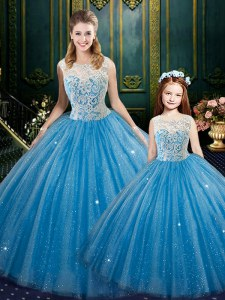 Floor Length Lace Up Ball Gown Prom Dress Baby Blue for Military Ball and Sweet 16 and Quinceanera with Lace