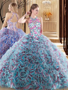 Fabric With Rolling Flowers High-neck Sleeveless Sweep Train Criss Cross Ruffles and Pattern Quinceanera Dresses in Multi-color