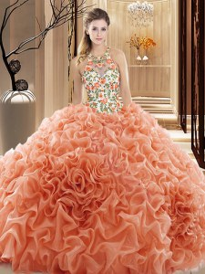 Adorable Peach Sleeveless Organza Court Train Backless Quinceanera Gown for Prom and Military Ball and Sweet 16 and Quinceanera