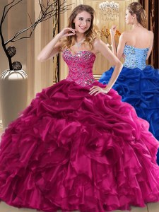 Smart Pick Ups Floor Length Ball Gowns Sleeveless Fuchsia Quinceanera Gown Lace Up