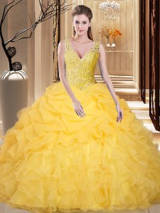 Gold Ball Gowns Lace and Appliques and Ruffles and Pick Ups 15th Birthday Dress Backless Organza Sleeveless Floor Length
