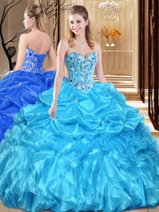 Modern Sleeveless Lace Up Floor Length Lace and Appliques Vestidos de Quinceanera