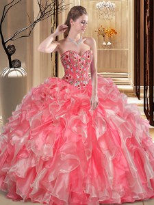 Watermelon Red Sleeveless Organza Lace Up Quinceanera Dresses for Military Ball and Sweet 16 and Quinceanera