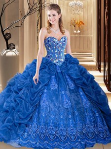 Royal Blue Ball Gowns Embroidery and Pick Ups 15th Birthday Dress Lace Up Organza Sleeveless