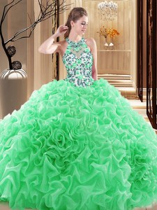Exquisite 15 Quinceanera Dress High-neck Sleeveless Brush Train Backless