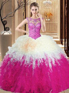 Hot Selling Sleeveless Tulle Floor Length Backless Quinceanera Gown in Multi-color with Beading and Ruffles